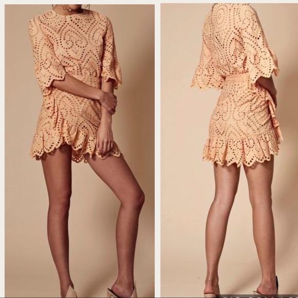 f22569782d Winona Valerie Wrap Dress Size 6 Apricot Eyelet